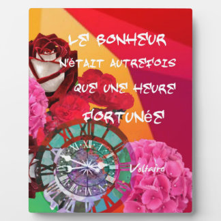 Flowers , time and happiness message plaque