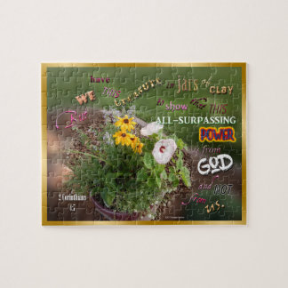 Flowers Treasure in Jars of Clay Bible Verse Jigsaw Puzzle