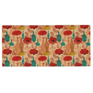 Flowers, vases and bottles pattern wood USB 2.0 flash drive
