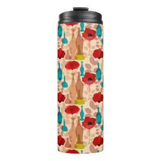 Flowers, vases and bottles pattern thermal tumbler
