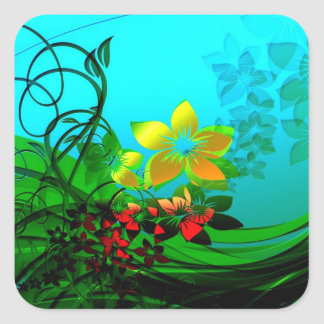 Flowers, Vines and Leaves Abstract Art Sticker