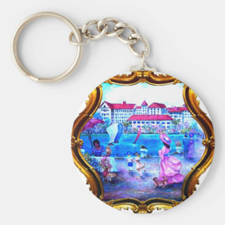 Flowers Walk Gold Key Ring