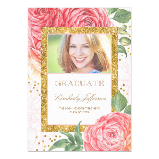 Flowers Watercolor Gold and Pink Photo Graduation Card