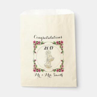 FLOWERS WEDDING  bag Ecru Favor Favour Bags