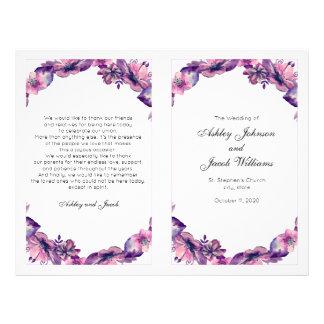 Flowers wedding program. Purple church ceremony Flyer
