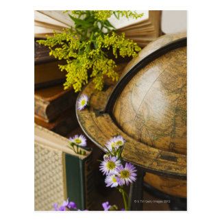 Flowers with antique globe and books postcard
