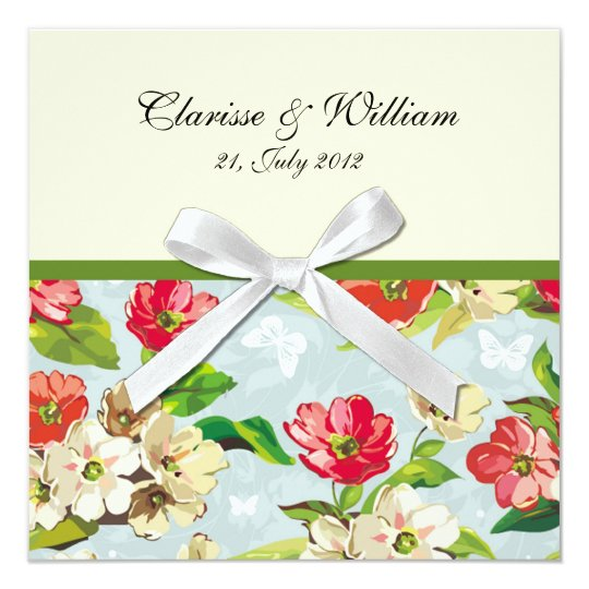 Flowers With Bow Wedding Invitation