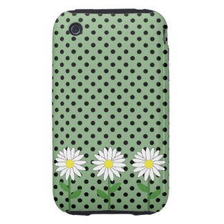 Flowers with Dark Mint Green and Black Polka Dots iPhone 3 Tough Cases
