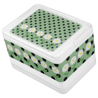 Flowers with Dark Mint Green and Black Polka Dots Cooler