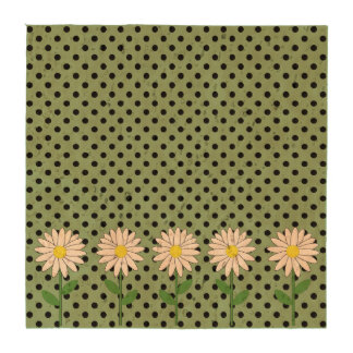 Flowers with Dark Mint Green and Black Polka Dots Coasters