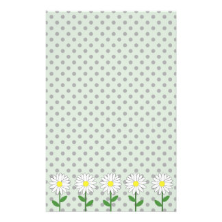 Flowers with Dark Mint Green and Black Polka Dots Customized Stationery