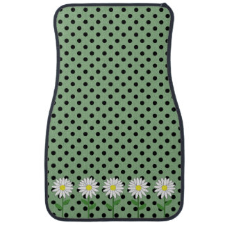 Flowers with Dark Mint Green and Black Polka Dots Floor Mat