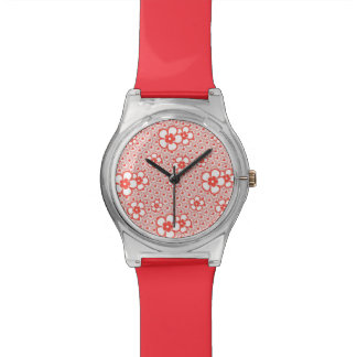 Flowers with hearts and circles (red and white) watches