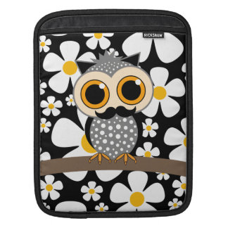 flowers with mustache owl iPad sleeve