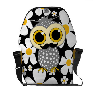 flowers with mustache owl courier bags