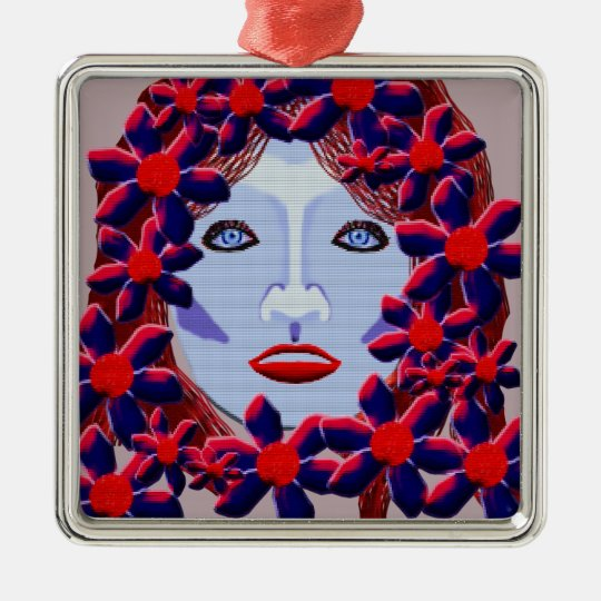 Flowers Women Metal Ornament
