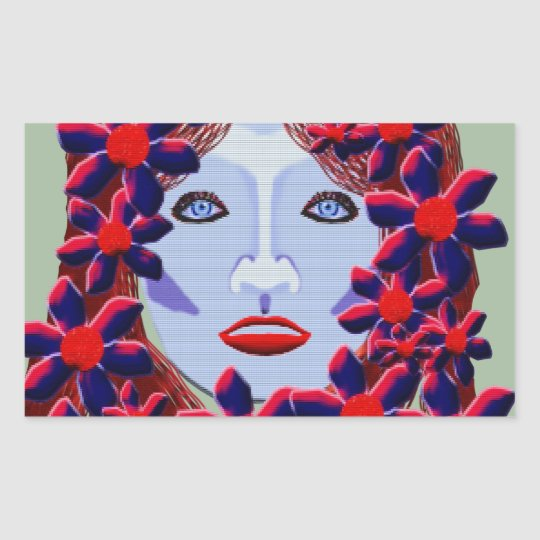 Flowers Women Rectangular Sticker