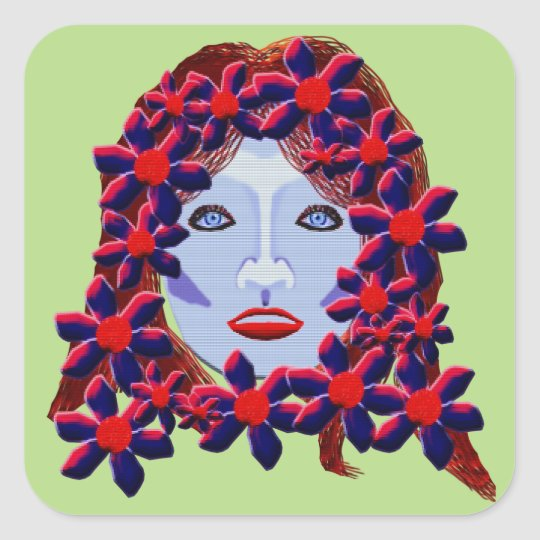 Flowers Women Square Sticker