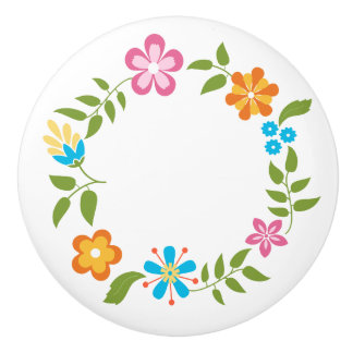 Flowers Wreath Ceramic Knob