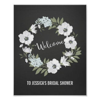 Flowers Wreath Welcome Poster Print