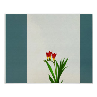 flowers yellow red Poster