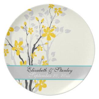 Flowers yellow turquoise wedding keepsake plate