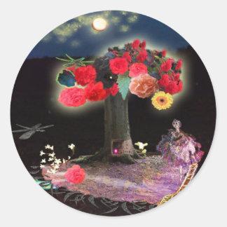 flowertree round sticker