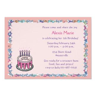 "Flowery Border Birthday Party Invitation 5"" X 7"" Invitation Card"