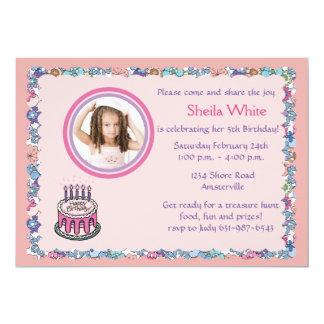 "Flowery Border Photo Birthday Party Invitation 5"" X 7"" Invitation Card"