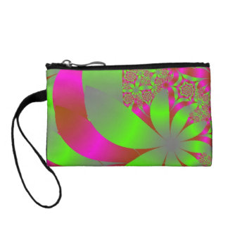 Flowery Bright Pink and Green Coin Purse