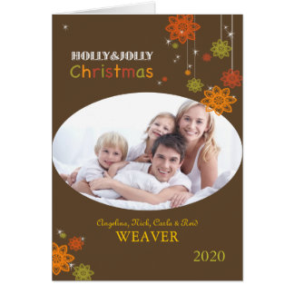 Flowery Brown Christmas Family Photo Greeting Card