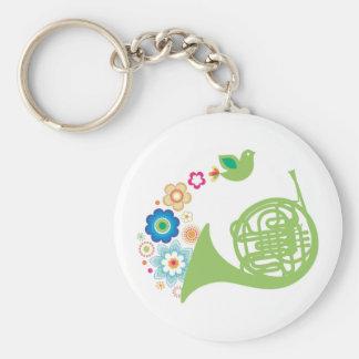 Flowery French Horn Music Gift Key Ring