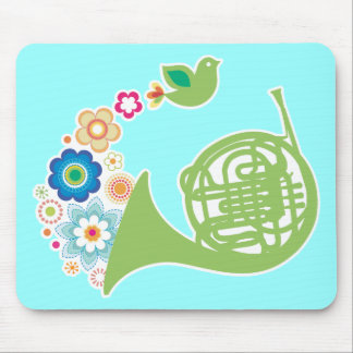 Flowery French Horn Music Mousepad Gift