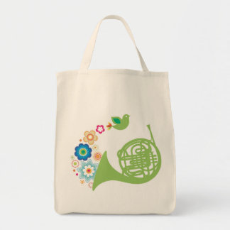 Flowery French Horn Music Totebag Gift Tote Bag