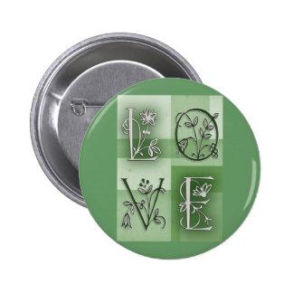 Flowery green love pin