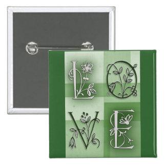 Flowery green love pinback buttons