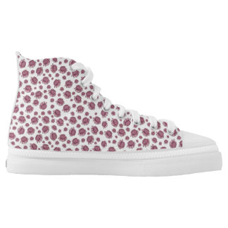 Flowery high top shoes printed shoes
