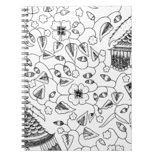 Flowery Indonesian Textile with Birds Notebooks