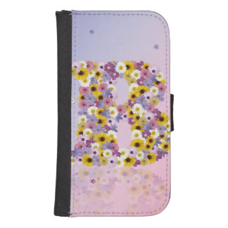 Flowery initial B Samsung S4 Wallet Case