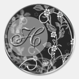 Flowery Initial Classic Round Sticker