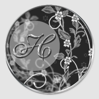 Flowery Initial Round Sticker