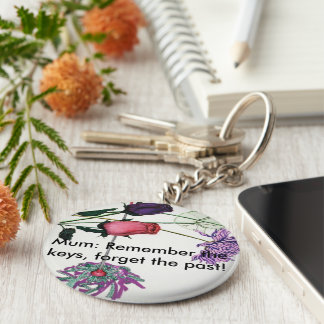 Flowery keyring for mums basic round button key ring