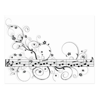 Flowery Music Postcard