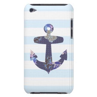 Flowery Nautical blue anchor ipod case iPod Touch Cases
