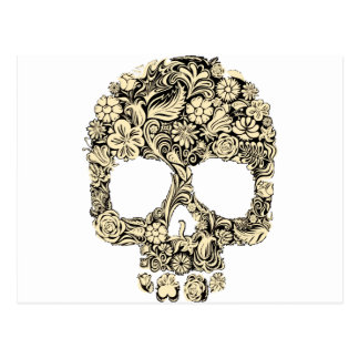 Flowery Ornate Skull Postcard