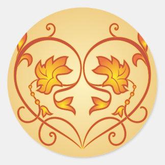 Flowery pattern classic round sticker