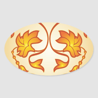 Flowery pattern oval sticker