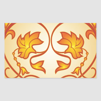 Flowery pattern rectangular sticker