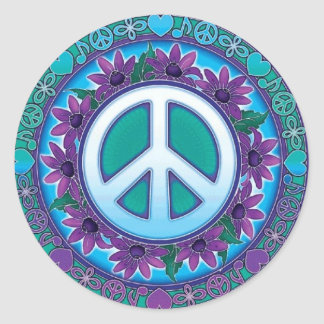 Flowery Peace Sign Round Sticker