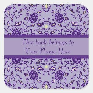 Flowery Purple Damask Square Sticker